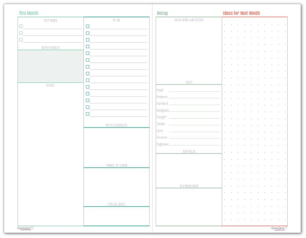 This half-size monthly blog planner allows you to plan your goals and to-dos for the month on one page, and reflect and recap what happened that month on the other.