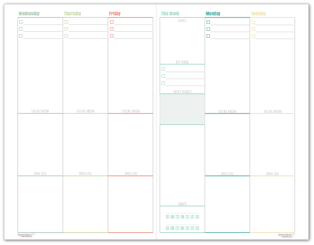 This weekly half-size blog planner allows you set goals for each week. Each day has room for your top three prioritized tasks, space to plan your work day, social media shares, as well as keep a daily log of things you don't want to forget.