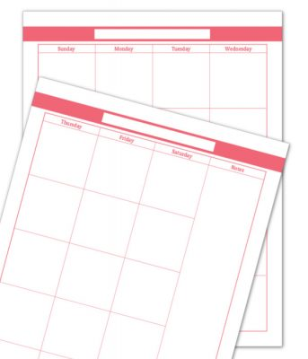 Blush Two Page Monthly Calendar