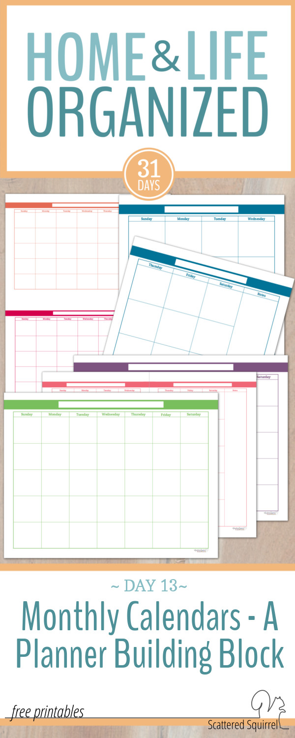 These Colourful Blank Monthly Calendars make an awesome jumping off point for building the planner that will work for you.