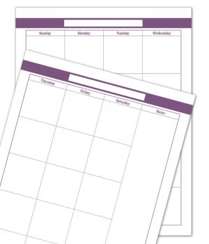 Deep Lilac 2 Page Monthly Calendar