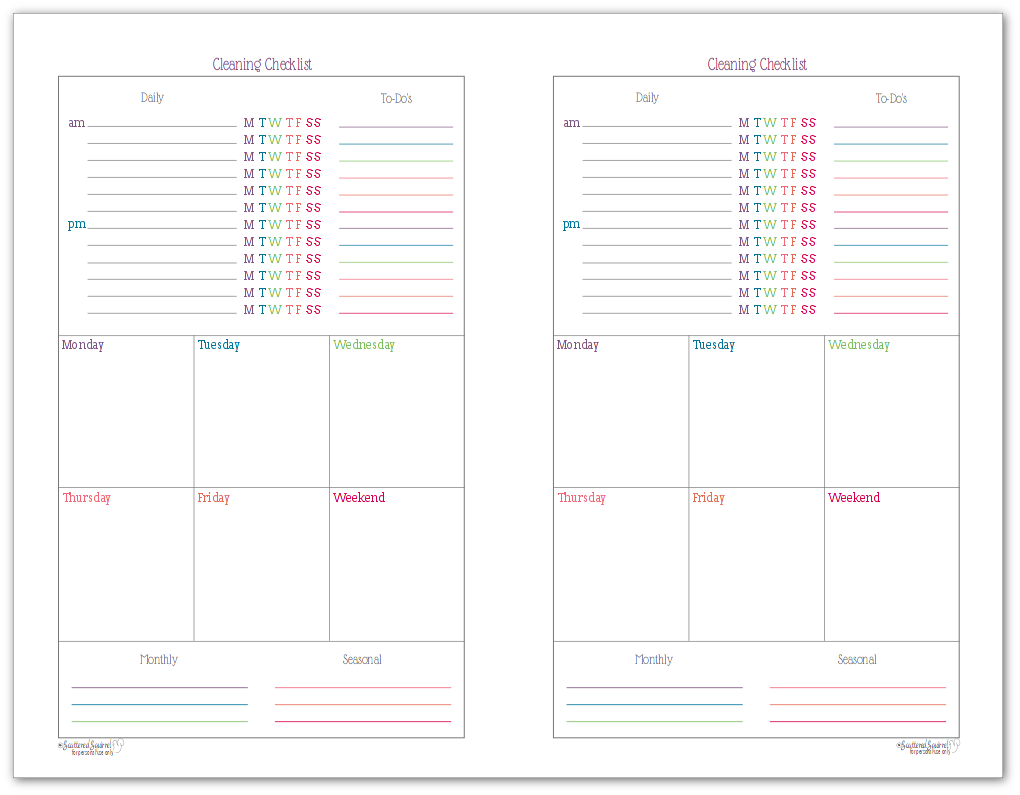 Half-size cleaning checklist - could also double as a weekly planner.