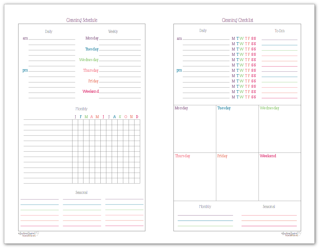 Plan your cleaning tasks on the cleaning schedule side of the printable, and track your progress with the cleaning checklist