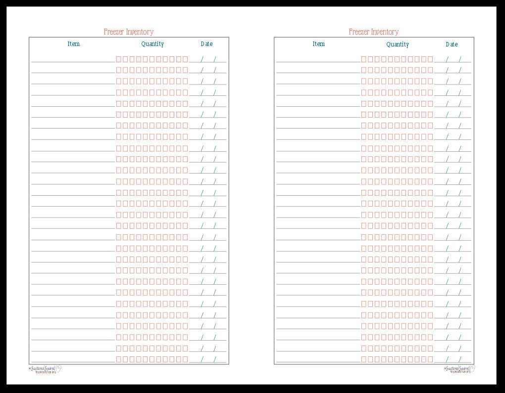 Half-Size Freezer Inventory Printable
