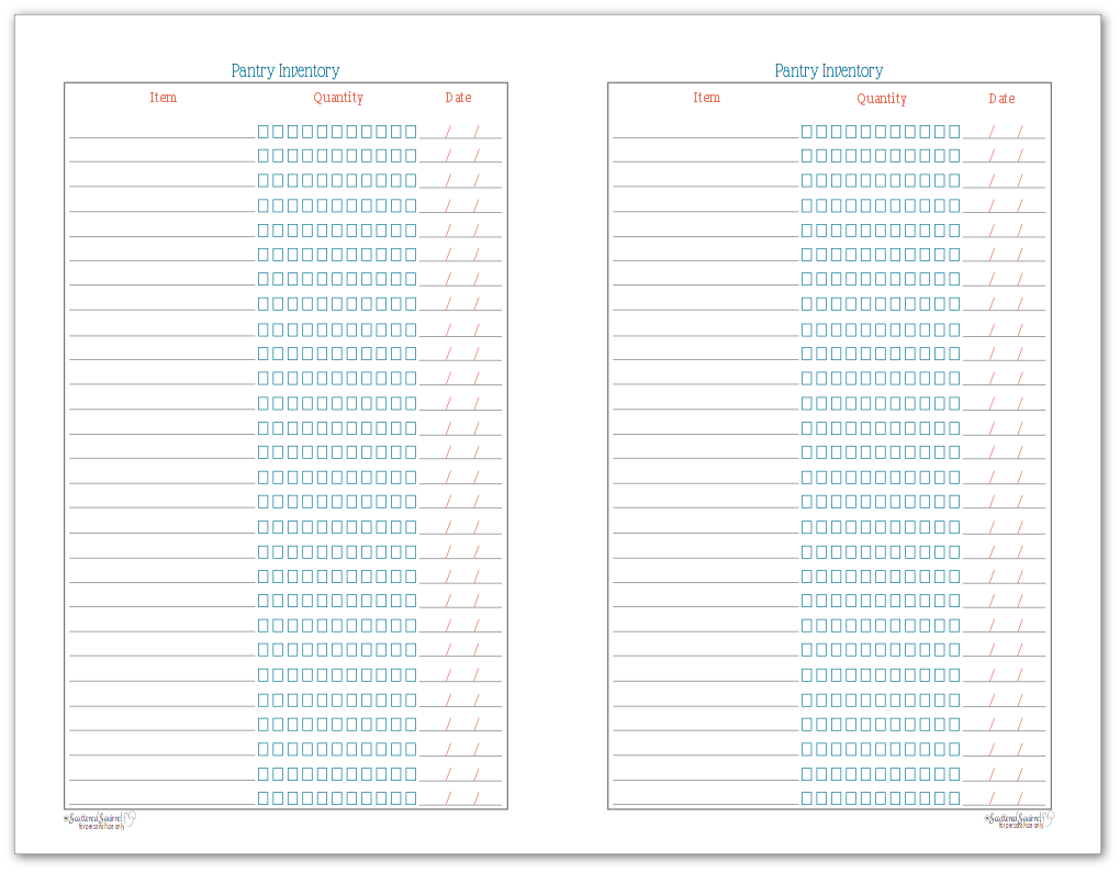 Half-Size Pantry Inventory Checklist
