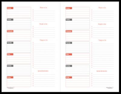 Half-Size Summer Orange Weekly Overview Printable