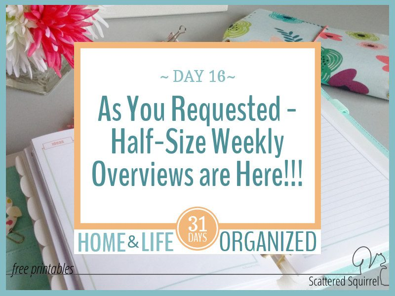 Half-Size Weekly Overview Printables – As You Requested!