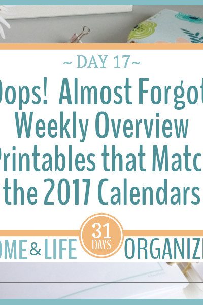 Here are the weekly overview printables that match the 2017 calendars. You didn't think I'd forget did you?