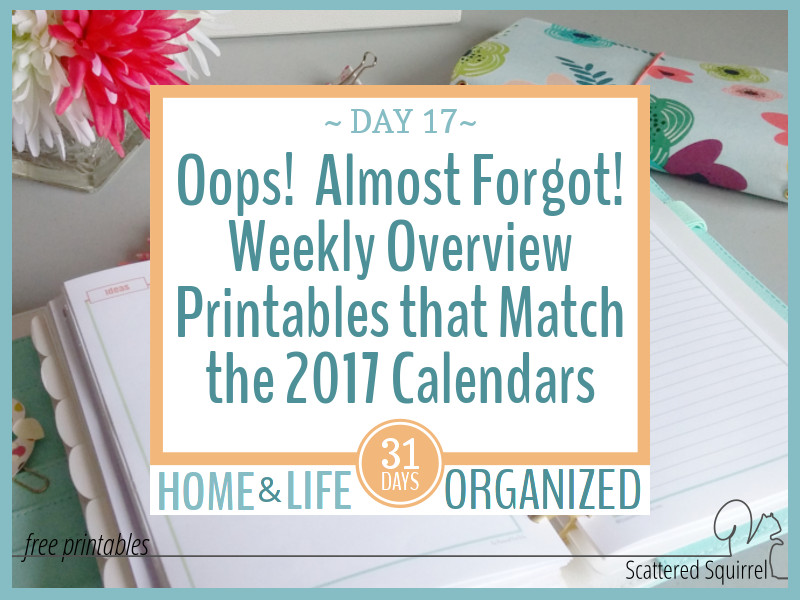 Oops! I Almost Forgot the Weekly Overview Printables that Match the 2017 Calendars!