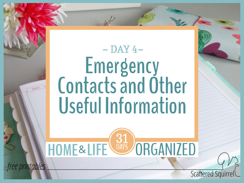 Emergency contacts and other useful home related information printables are great additions to your home management binder.
