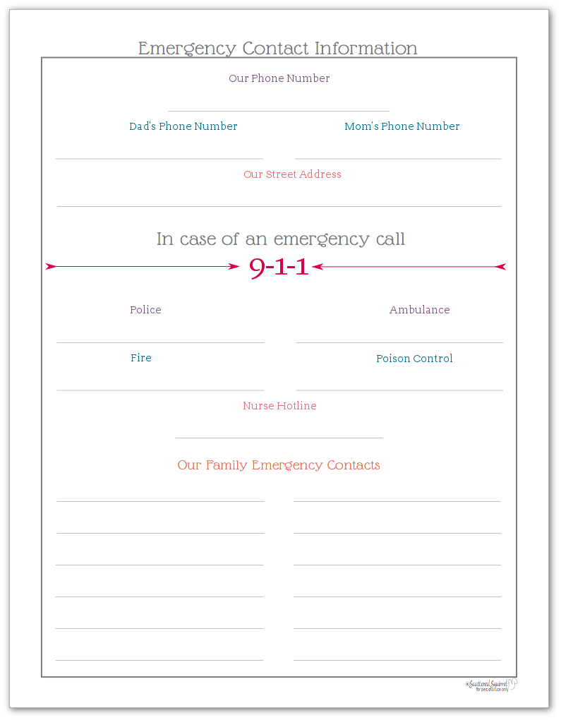 Emergency Contact Information printable for Home Management Binders (is also great to have hanging on the fridge)