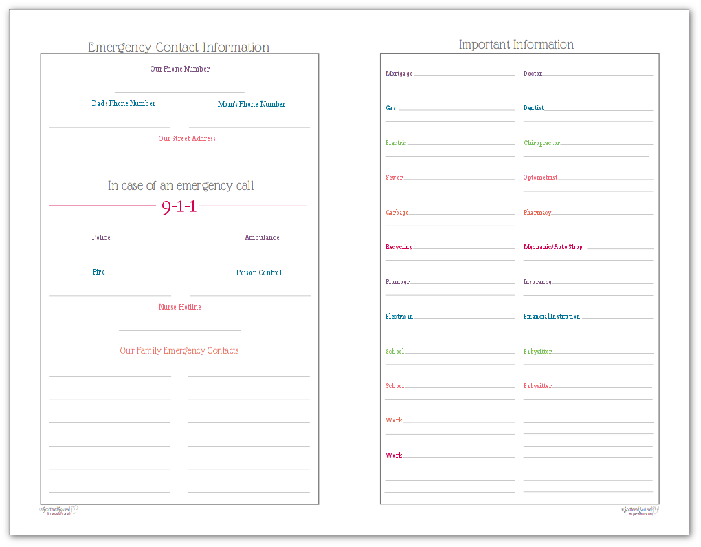 Half-size versions of the Emergency Contact printable and Important Information for Home Owners printable