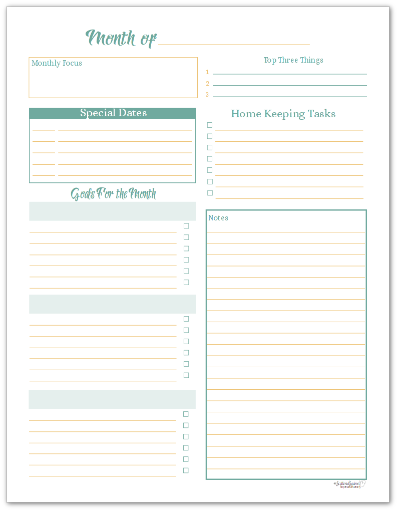 Monthly Planning Page Printable