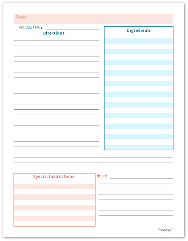Recipe Page Printable