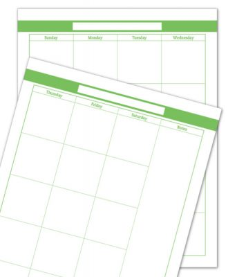 Spring Grass 2 Page Monthly Calendar