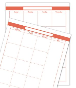 Summer Orange 2 Page Monthly Calendar