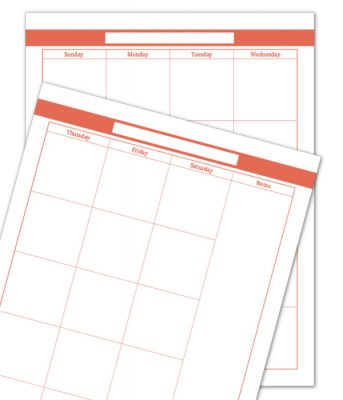 Summer Orange 2 Page Monthly Calendar