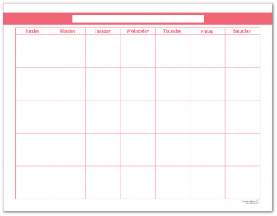 Blush Single Page Monthly Calendar