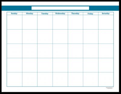 Cobalt Single Page Monthly Calendar