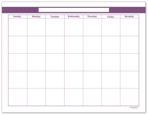 Deep Lilac Single Page Monthly Calendar