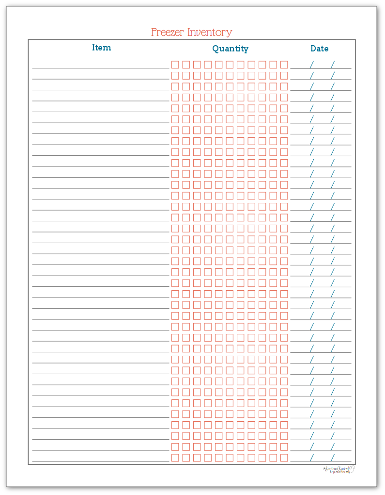 Freezer Inventory Checklist Printable