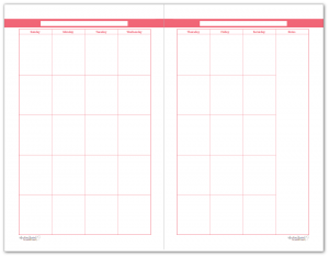 Half-Size Blush 2 Page Monthly Calendar