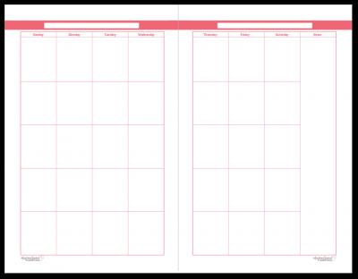 Half-Size Blush 2 Page Monthly Calendar