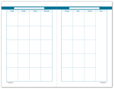 Half-Size Cobalt 2 Page Monthly Calendar
