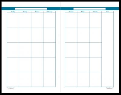 Half-Size Cobalt 2 Page Monthly Calendar