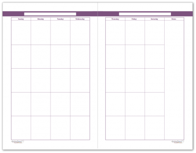 Half-Size Deep Lilac 2 Page Monthly Calendar