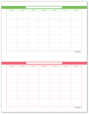Half-Size Spring Grass and Blush Single Page Monthly Calendars
