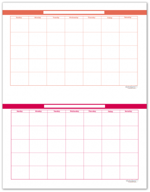 Half-Size Summer Orange and Raspberry Single Page Monthly Calendars