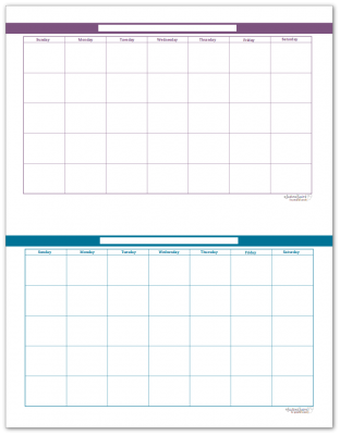 Half-Size Deep Lilac and Cobalt Monthly Calendars