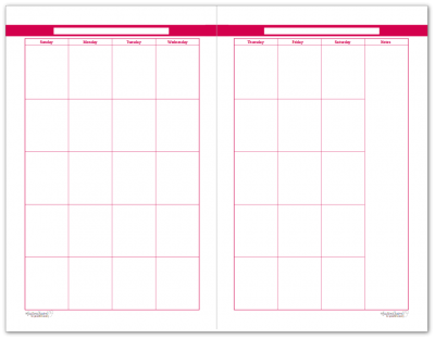 Half-Size Rasberry 2 Page Monthly Calendar