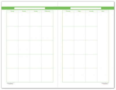 Half-Size Spring Grass 2 Page Monthly Calendar