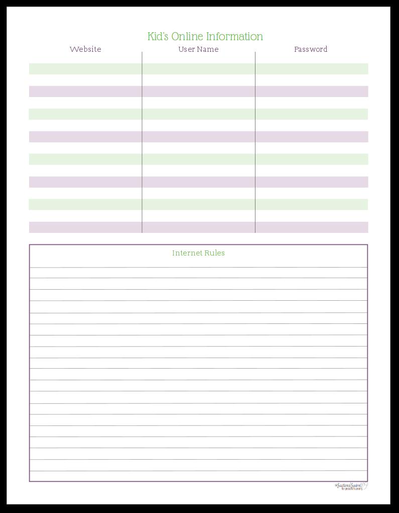 Kid's Online Information Printable