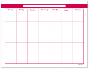 Raspberry Single Page Monthly Calendar
