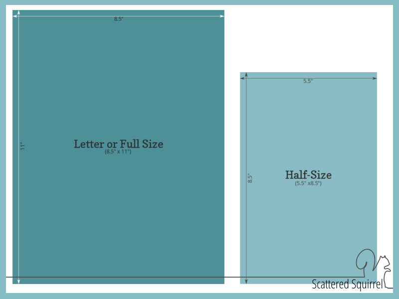 A Diagram of the 2 main sizes of printables found on Scattered Squirrel.