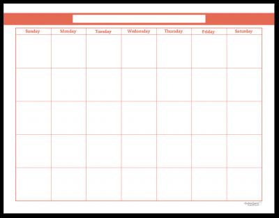Summer Orange Single Page Monthly Calendar