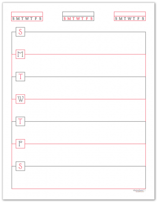 Blush Horizontal Single Page Weekly Planner
