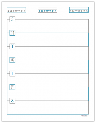 Deep Cobalt Horizontal Single Page Weekly Planner