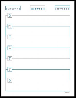 Deep Cobalt Horizontal Single Page Weekly Planner