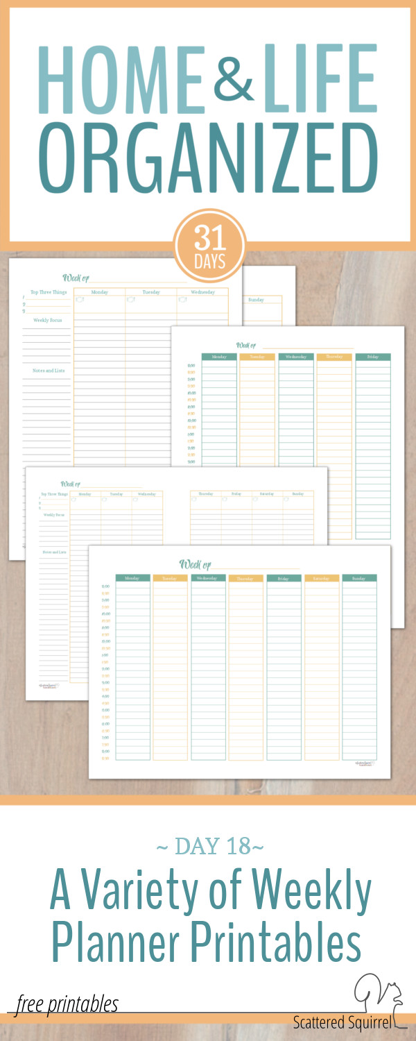There are a variety of weekly planner printables here, you can take you pick or use them all!