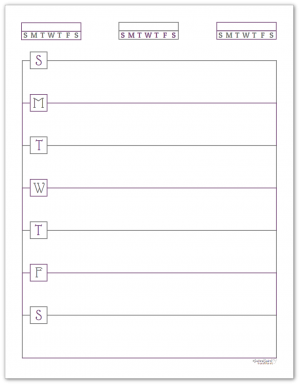 Deep Lilac Horizontal Single Page Weekly Planner