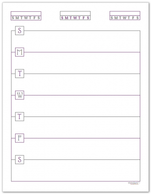 Deep Lilac Horizontal Single Page Weekly Planner