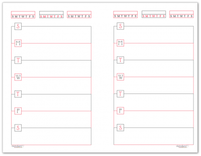 Half-Size Blush Horizontal Single Page Weekly Planner