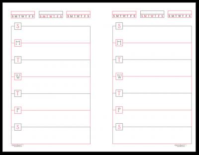 Half-Size Blush Horizontal Single Page Weekly Planner