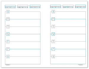 Half-Size Deep Cobalt Horizontal Single Page Weekly Planner