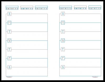 Half-Size Deep Cobalt Horizontal Single Page Weekly Planner