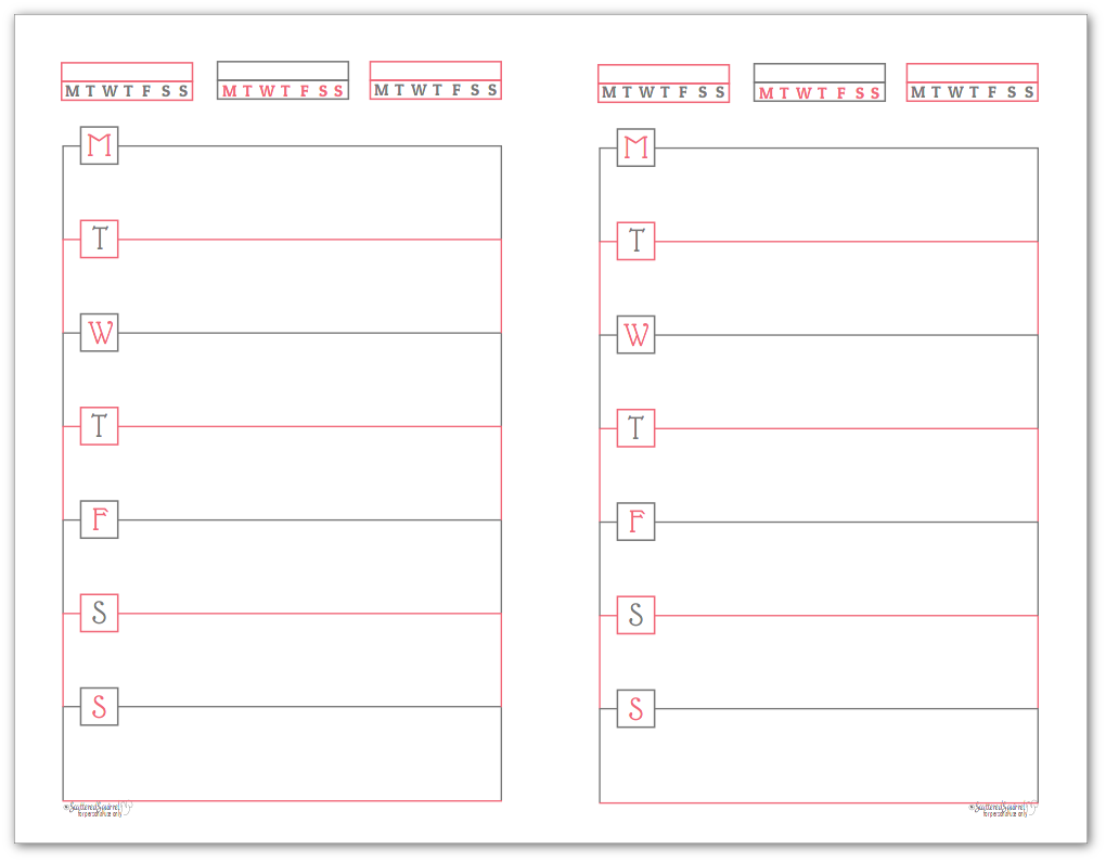 Blush Half-Size Monday Start Horizontal Weekly Planners